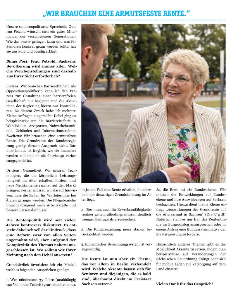 Blaue Post AfD Rente Gudrun Petzold Pflege Pflegepolitik AfD Nordsachsen